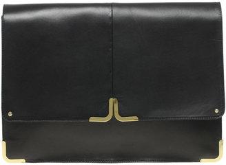 Asos Leather Portfolio Clutch With Metal Tip