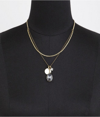 Express Nested Chain Teardrop Bead Pendant Necklace