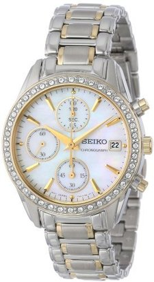 Seiko Women's SNDY20 Two Tone Stainless Steel Analog with Mother-Of-Pearl Dial Watch $335 thestylecure.com