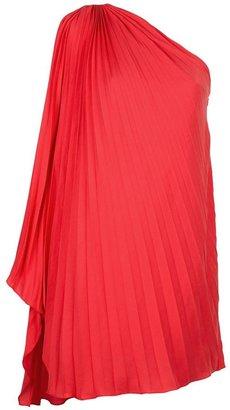 Halston pleated one shoulder dress