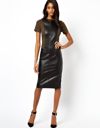 Asos Pencil Dress With Leather Look Panels