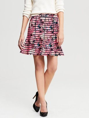 Banana Republic Striped Floral Fluted Skirt