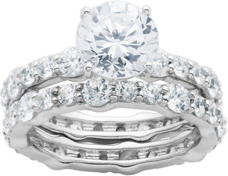 FINE JEWELRY DiamonArt Cubic Zirconia Sterling Silver Bridal Ring Set $399.98 thestylecure.com