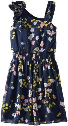 Amy Byer Girls 7-16 Dress with Asymetical Shoulder and Faux Corsage