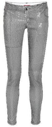 Alice + Olivia Sequined low-rise skinny jeans