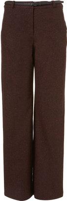 Topshop Belted Tweed Wide Leg Trousers