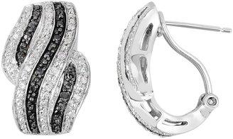 1/3 Carat T.W. Black and White Diamond Sterling Silver Wave Drop Earrings