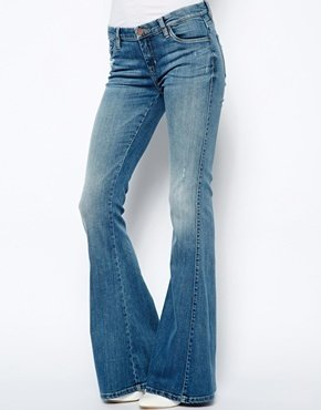 Blank NYC Skinny Flared Jeans With Distressing - Blue