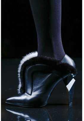 Fendi Mink-trimmed leather ankle boots