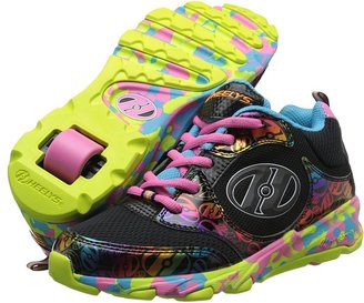 Heelys Race (Little Kid/Big Kid/Adult) (Black/Pink/Multi Synthetic Patnet Leather/Synthetic Leather/Mesh) - Footwear