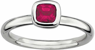 FINE JEWELRY Personally Stackable Cushion-Cut Lead Glass-Filled Ruby Sterling Silver Ring