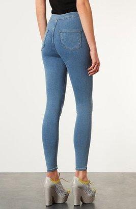 Topshop Moto 'Vintage Joni' High Rise Skinny Crop Jeans (Mid Stone)