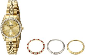 Peugeot Women's Gold Tone 4 Piece Interchangeable Bezel Set Watch 405G
