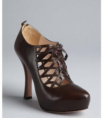 Prada brown leather caged cutout lace-up platform ankle booties