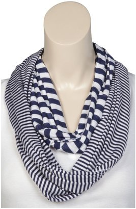 Erge Mixed Stripe Infinity Scarf - Navy-One Size