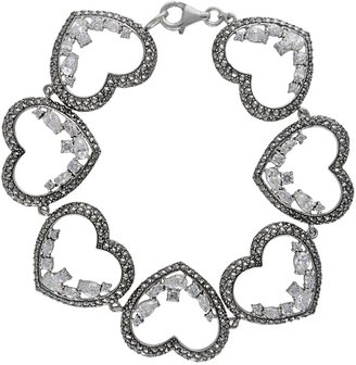 Swarovski Lavish By Tjm Lavish by TJM Sterling Silver Cubic Zirconia Heart Bracelet - Made with Marcasite