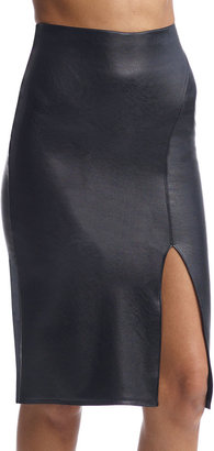 Commando Faux-Leather Side-Slit Midi Pencil Skirt