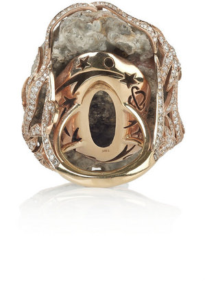 Lydia Courteille Galaxy 18-karat rose gold, diamond and crystallized agate ring