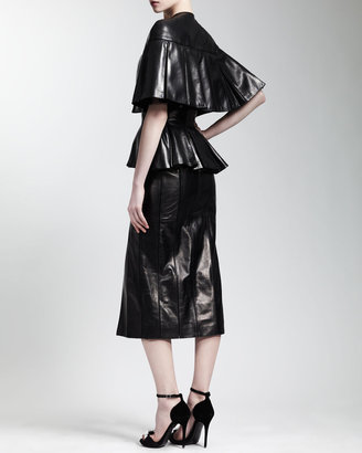 Alexander McQueen Cape-Sleeve Leather Dress, Black