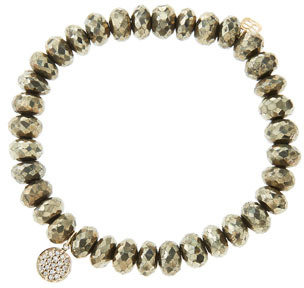 Sydney Evan 8mm Faceted Champagne Pyrite Beaded Bracelet with Mini Yellow Gold Pave Diamond Disc Charm (Made to Order)