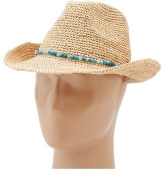 Hat Attack Raffia Crochet Classic Fedora w/ Natural Stones Trim (Natural with Deep Blue Stones) - Hats