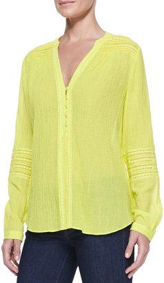 Diane von Furstenberg Gaylen Long-Sleeve Crochet Band Top, Canary Yellow
