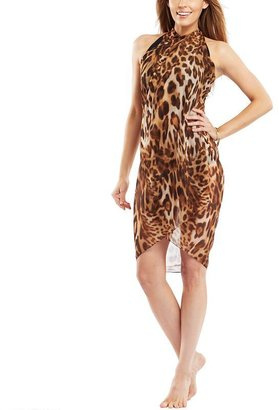 Soaked leopard chiffon sarong cover-up