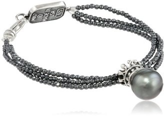 "King Baby 3 Strand Hematite Crowned Tahitian Pearl Bracelet, 7.5"" $515 thestylecure.com"