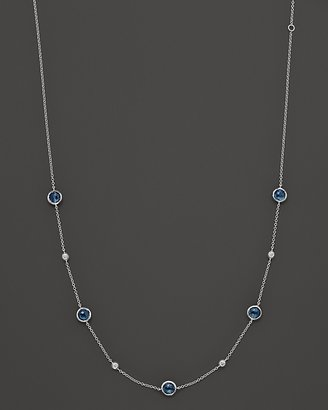 "Ippolita Silver Rain"" Sterling Silver Necklace In London Blue Topaz And Diamonds, 18"""