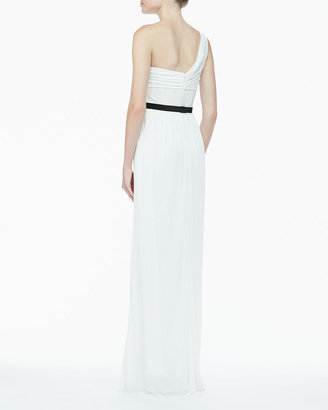 Jason Wu One-Shoulder Jersey & Leather Gown