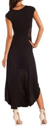 Charlotte Russe Lace Inset Hi-Low Knit Dress