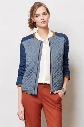 Anthropologie Quilted Chambray Jacket