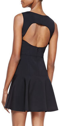 Tibi Baja Embroidered-Jersey Back-Cutout Dress