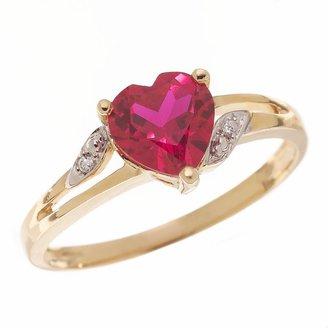 Heart-cut lab-created ruby ring