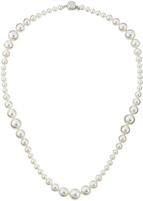 Majorica Mixed-Size Pearl & CZ Necklace