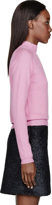 Carven Pink Knit Angora Turtleneck