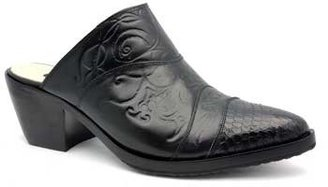 "Salpy Dallas"" Black Tooled Leather Clog"