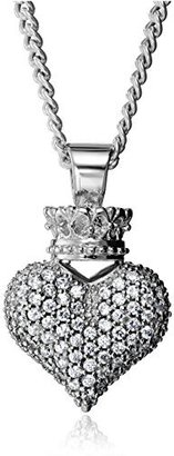 King Baby Large 3D Pave Cubic Zirconia Crowned Heart Pendant Necklace $390 thestylecure.com
