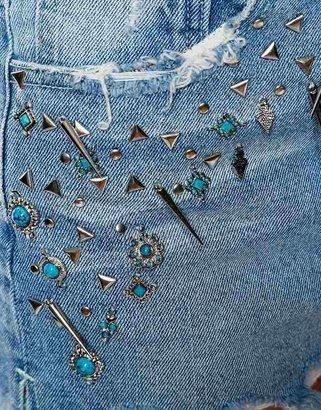 Asos High Waist Denim Shorts with Turquoise Stone Embellishment