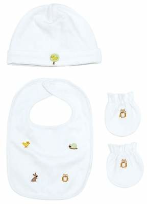 John Lewis & Partners Baby Embroidered Animal Accessories Set, White