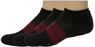 Thorlos 84N Micro Mini 3-Pair Pack (Black/Red) Men's No Show Socks Shoes