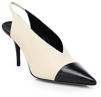 Narciso Rodriguez Bicolor Leather Slingback Pumps