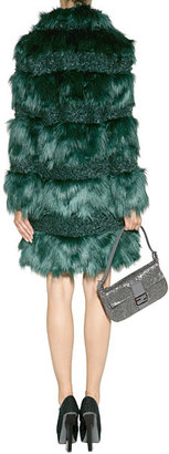 Anna Sui Faux Fur Combo Coat in Forest Green