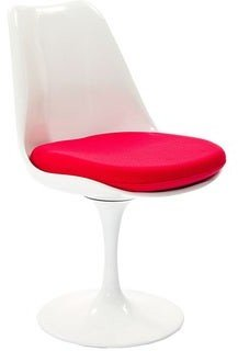 Modway Eero Saarinen Style Tulip Dining Chair with Red Cushion