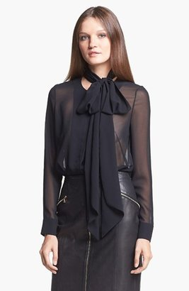 J Brand Ready-to-Wear 'Maso' Tie Neck Chiffon Blouse