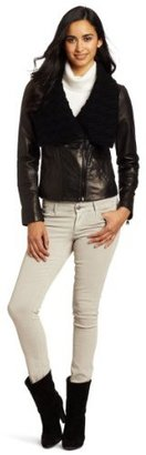 Via Spiga Women's Leather Motorcycle Jacket with Knit Collar