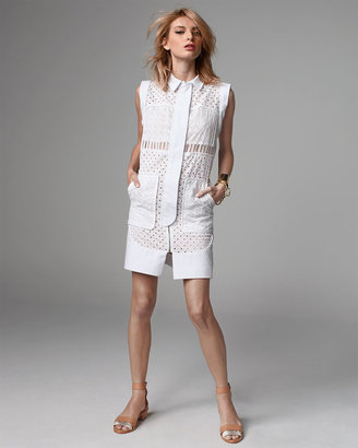 Rebecca Taylor Voile Eyelet Cap-Sleeve Shirtdress