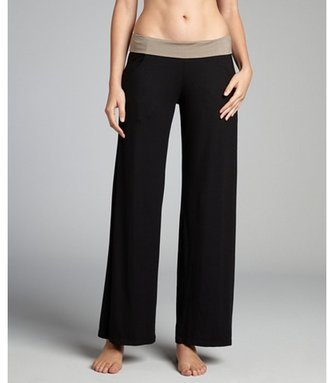 Trina Turk black and taupe jersey knit 'Mayan' wide leg pant coverup
