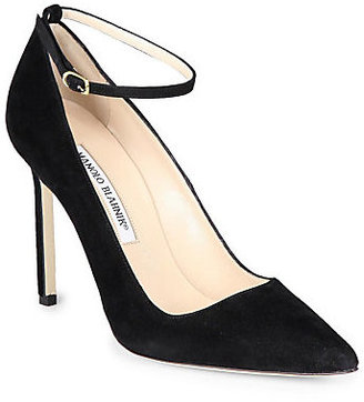 Manolo Blahnik BB Suede Ankle-Strap Pumps