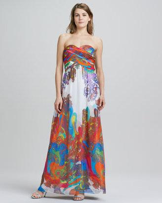 Aidan Mattox Aidan by Strapless Floral-Print Chiffon Gown